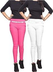 Xarans Stylish Pink & White Cotton Lycra Zip Jegging Set of 2 Pcs