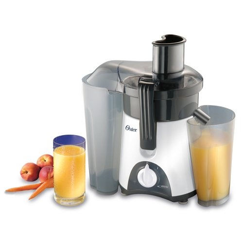 Oster 3157 400-Watt Single-Speed Juice Extractor, White/Grey