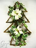 Artificial Christmas Flower Poinsettia Pine Holly Wall/Door Decoration (Cream) from GT Decorations