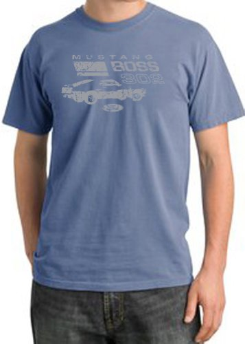 Ford Car Distressed Mustang Boss 302 Classic Adult Pigment Dyed T-Shirt - Night Blue, 2Xl