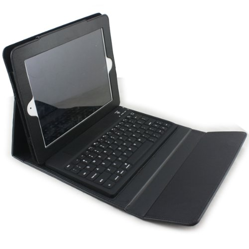 Koolertron Black Built-in Bluetooth Keyboard Leather Housing Carry Case Cover For Apple iPad2 iPad 2 2nd