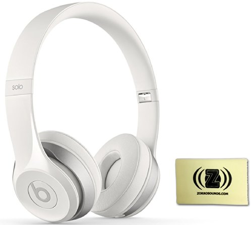 Beats By Dr. Dre Solo 2.0 On-Ear Headphones (White) Bundle With Zorro Sounds Custom Designed Polishing Cloth