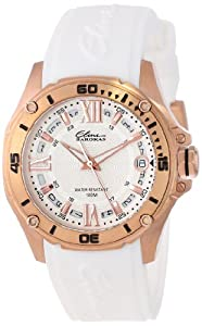 Elini Barokas Womens 10197-RG-02S-WHT Artisan Rose Gold Ion-Plated Stainless Steel and White Silicone Band Watch