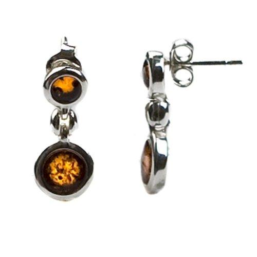 Sterling Silver Honey Amber Round Earrings