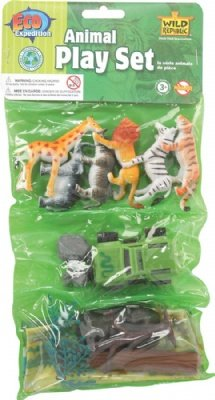 Eco Expedition Zoo Playset: Dozen Plastic Mini Animal Toy Figures