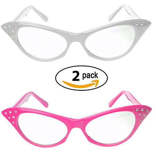 Pink-White-Cat-Eye-Glasses-with-Rhinestones-50s-60s-Retro-glasses-2-Pack
