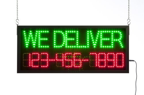 "Led Business Sign With ""We Deliver"" Message And Programmable Phone Number, Animated Window Sign With 3 Lighting Effects Includes Hanging Hardware And Remote Control"