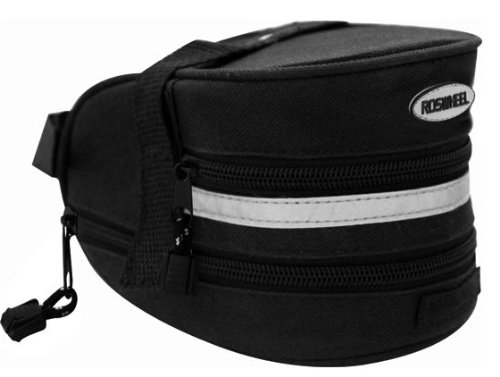 Black expandable seat / saddle bag with reflective trim for cycling (bike / bicycle) plus KLOUD cleaning cloth