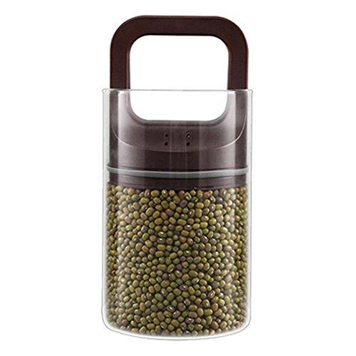 TAMUME 1.4L Boîtes Alimentaires Hermétiques Verre Jar Vide Alimentaire Scellant Pour Grains de Café et d'herbes - Brown