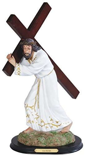 """StealStreet SS-G-312.39W 15"""" White Jesus Carrying Brown Cross Religious Figurine"""