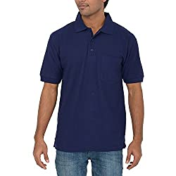 Comfort Plus Mens Casual Collar T Shirt With Pocket ( Navy )
