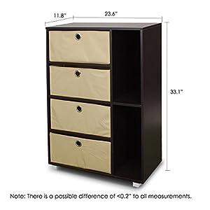 Furinno 11159SBE/BK (99998) Multipurpose Storage Shelves Cabinet Bookcase Bookshelf Dresser with 4 Bin-Type Drawers