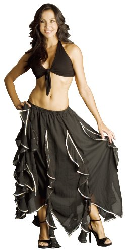 Black Petal Skirt with Silver Sequins