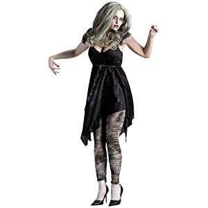 Ladies Female Night Zombie Living Dead Halloween Horror Fancy Dress Costume M from Wicked Costumes