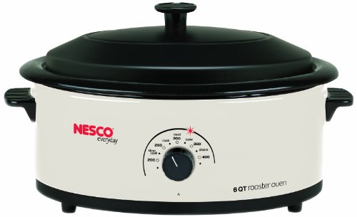 Nesco 4816-14 6-Quart Roaster Oven with Porcelain Cookwell, White (Small Roaster Oven compare prices)