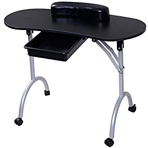 Fds folding collapsible manicure table portable nail art for Portable manicure table nail technician workstation