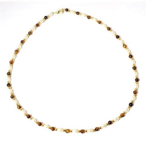 Gold Look Freshwater Pearl & Tigers eye Bead Necklace