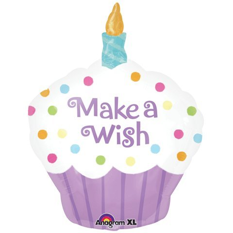 "Make A Wish Cupcake Shaped Birthday 18"" Mylar Foil Balloon"