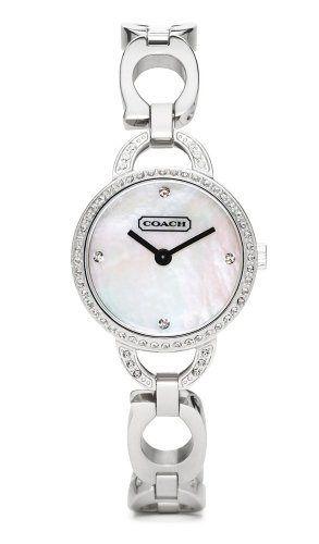 Coach Kristin Ladies Mother of Pearl W/crystals C Link Bracelet Watch 14501484 Stainless Silver Swiss