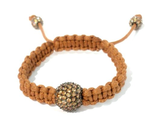 Shamballa Bracelet 14mm Champagne CZ Pave with Macrame in Tan Cotton Wax Cord with Two 6mm Champagne Cz Pave on Ends Adjustable Unisex