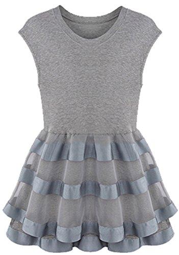 [Women's Sleeveless Round Neck Rhinestone Sheer Layer Dress] (Xxl Santa Suits For Sale)