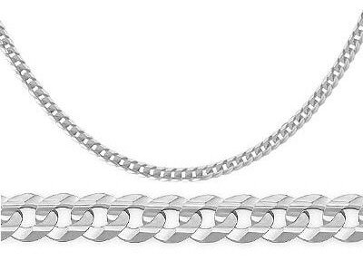 Curb Link Cuban Necklace 14K White Gold Solid Chain 3.2 Mm , 18 Inch