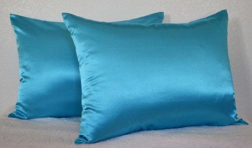 Creative 2 Pieces Of Hidden Zipper Satin Pillow Case, Standard Size , Turquoise front-822418