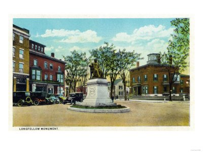 Portland, Maine - View of Longfellow Monument and Longfellow Square