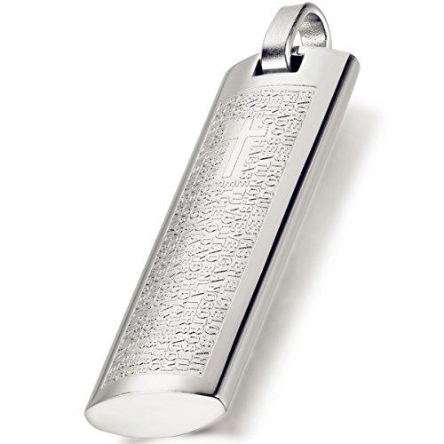 Flongo Edelstahl Anhänger Halskette Silber Englisch Bibel Lords Prayer Kreuz Jahrgang Herren ,mit 54cm Kette