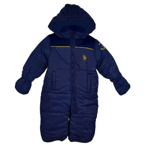 U S Polo Assn Boys 12 24 Months Color Block Snowsuit 18 Months Navy