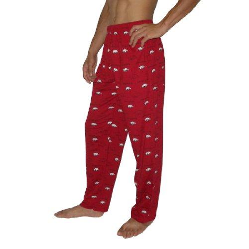 Mens NCAA Arkansas Razorbacks Cotton Sleepwear / Pajama Pants - Red
