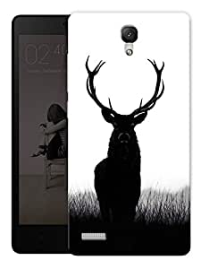 "Deer Black White Printed Designer Mobile Back Cover For ""Xiaomi Redmi Note - Note 4G"" By Humor Gang (3D, Matte Finish, Premium Quality, Protective Snap On Slim Hard Phone Case, Multi Color)"