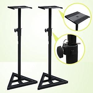 Zeny® Set of 2 Studio Monitor Speaker Heavy Duty Stand Height Adjustable Pair Concert Band DJ Studio Floor Stands, Black ( Pair )