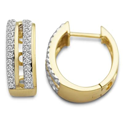 Miore SA916E 9 ct Yellow Gold Diamond Set Hoop Earrings