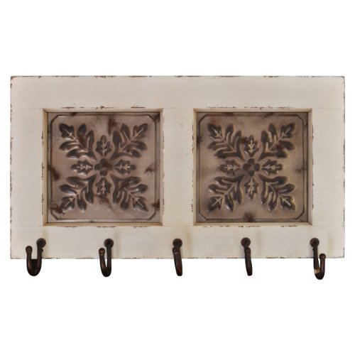 Distressed Solid Wood with Iron Vintage Wall Shelf with Hooks (White)