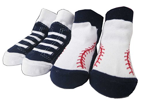 Infant Rising Star Baseball Blue and White Booties - 2 Pack [5011] - 1