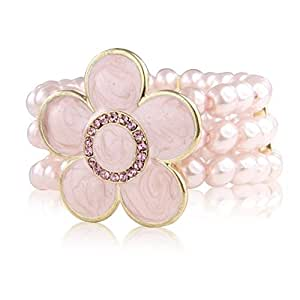 Flower Pearl faux Pink Bracelet with encrusted diamante stones - With gift bag