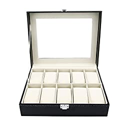Watch Box Large 10 Black Mens Womens Leather Display Glass Top Jewelry Case Organizer by Satellas