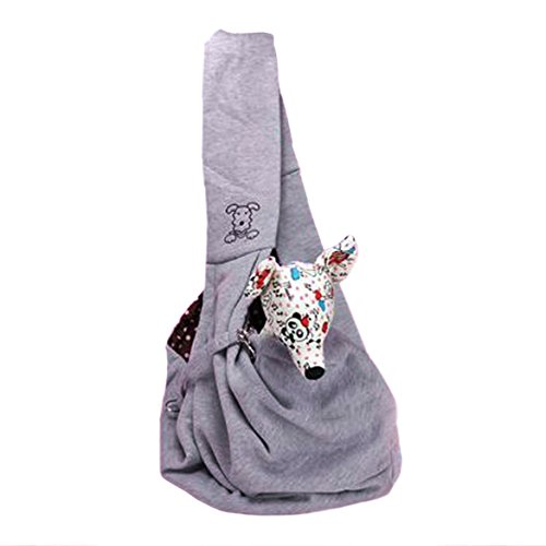 Vktech Pet Doggy Cat Comfortable Sling Carrier Pouch Travel Traveler Tote Bag Handbag (Grey)