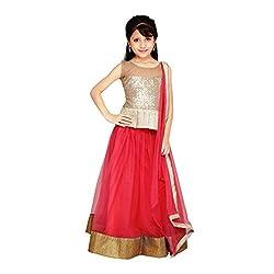 Najara Fashion fancy material traditional semi-stitched lahenga choli (njc001 3-4 yr)