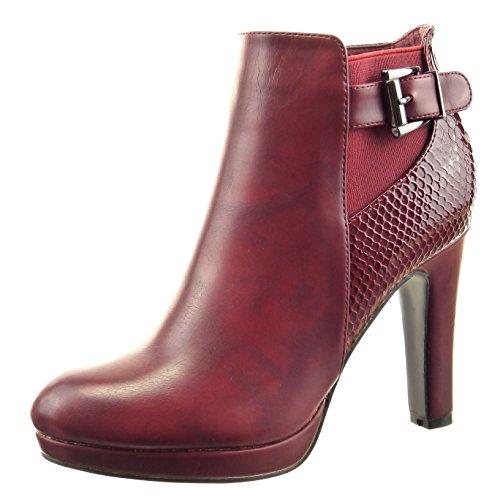 Sopily - Scarpe da Moda Stivaletti - Scarponcini chelsea boots donna pelle di serpente fibbia Tacco a blocco tacco alto 10 CM - soletta Foderato di Pelliccia - Rosso FRF-4-AF-68 T 40