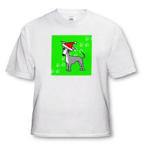 Cute Grey Italian Greyhound Green with Santa Hat - Toddler T-Shirt (3T)