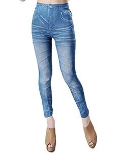 Jollychic Women's Trendy Denim Printed Leggings Stretch Slim Ankle Length Pants