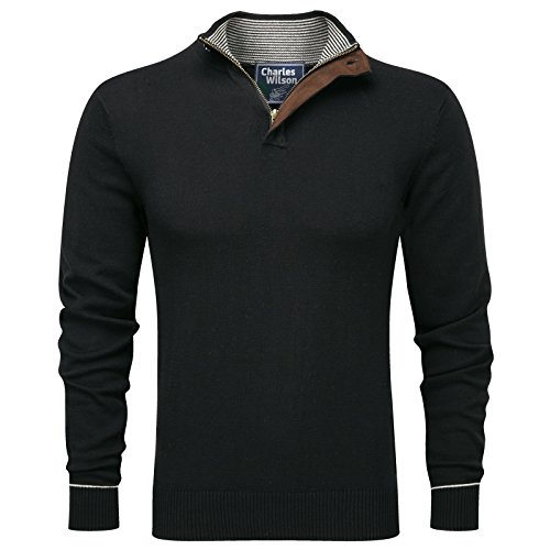 Charles Wilson Zip Neck Fine Knit Cotton Jumper (Medium, Plain Black)