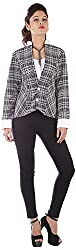 R Factor Women's Slim Fit Jacket (AW14-038, Black & White, M)