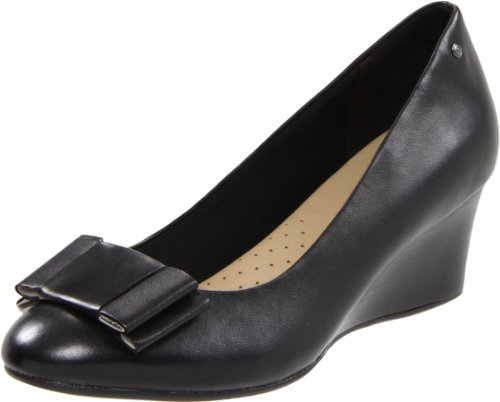 Rockport Women's Grace Bow Pump Black Wedges Heel K58739 3 UK