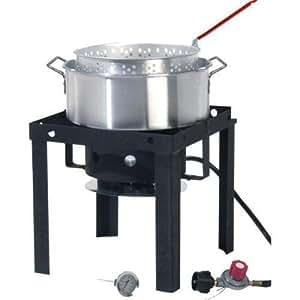 Fryer set pot gas stove lp burner basket for Outdoor fish fryers propane