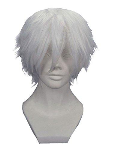 Anangel Free Hair Cap+ for Adults for Kids Tokyo Ghoul Tokyo Guru Kaneki Ken Cosplay Wig Silver White Cosplay Convention Costume Wigs