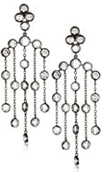 "CZ by Kenneth Jay Lane ""Trend Cubic Zirconia"" Black Rhodium-Plated Bezel Earrings"