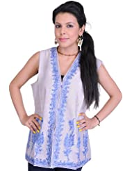 Exotic India Lilac-Marble Waistcoat From Kashmir With Air Embro - Multi-Coloured
